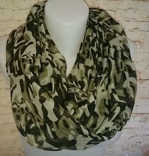 New Woman's SKULL PRINT CAMOUFLAGE Infinity loop SCARF LIGHT GREEN UK