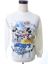 Vintage 80s Disney Mickeys 60th Birthday White Crewneck Sweater Medium M, used