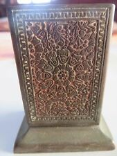 Rarts VICTORIAN ERA BRASS MATCHBOX HOLDER KINCO MARK ENGRAVED CARVING TABLEMOUNT