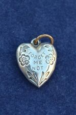 """Vintage Sterling Silver ½"""" Puffy Heart Bracelet Charm FORGET ME NOT"""