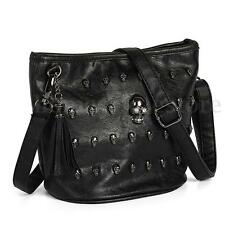 Fashion Women Skull Punk Leather Goth Tassel Messenger Shoulder Bag Tote Handbag