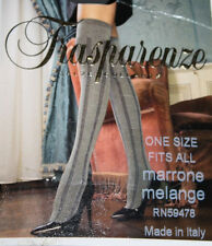 Trasparenze Thigh High Stockings NEW Made in Italy Gray Black Striped One Size