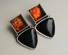 """Designer CDI Signed 1 1/8"""" Sterling Silver Amber Onyx Stone Post Earrings"""