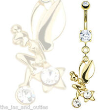 14k Gold Plated Fairy Star CZ Gem Belly Ring Tinkerbell Pierced Navel (w544)