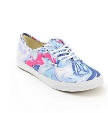 NEW IN BOX WOMEN'S 9 VANS AUTHENTIC LO PRO MARBLE BLUE TRUE WHITE SKATE SHOES