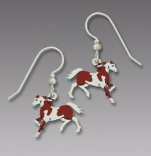 Sienna Sky PINTO Horse EARRINGS Sterling Silver Earwires Dangle Brown - Gift Box