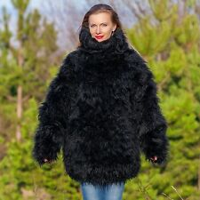 SUPERTANYA Hand Knitted Mohair SWEATER Black Wool Pullover MEGA THICK 10 STRANDS