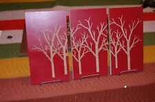 "Tree Wall Art  - Carved from Wood - 3 Pieces  10"" x  5"""