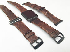 Coffee Leather Watch Strap Band for Apple Watch 42mm Black Fixs Series 1 & 2