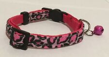 HOT PINK LEOPARD COLLAR Cat Dog Small Pet Cute Puppy Kitten Bell Mini 80's Cool