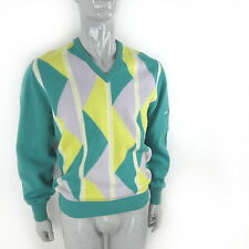 Vintage PRINGLE Jumper 100% Wool (Mens S Small) Golf Sweater 80s Geometric