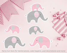 Pink Chevron Elephant Party Cutouts Decorations Printable
