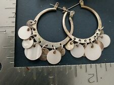 Mother of pearl hoop dangling silver tone pierced earrings