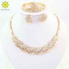 Fashion Women Rhinestone Necklace Sets 18K Gold Plated African Jewelry Sets
