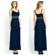 Savoir Size. 16 18 Simply Fab Dark Blue Beaded Waist Maxi DRESS Party Be £85