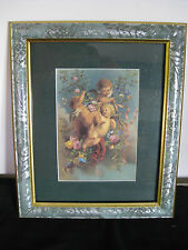 Cherub and Flower Print Picture in Frame with Dark Green Matte