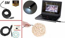 Endoscopio USB 5M sonda videocamera microcamera LED telecamera spia  flessibile