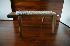 Minimalist Oak wood indoor bench - upholstered Gotland sheepskin rug - 7