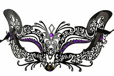 Gorgeous Black Cat-Woman Inspired Venetian Masquerade Mask with Purple D.