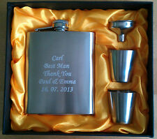 Personalised Free Engraved Hip Flask 6oz, Funnel & Drinking Cups Set, Gift Box