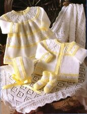 """BABY OR DOLLS CLOTHES KNITTING PATTERN 12""""-18"""" TINY LAYETTE & SHAWL"""