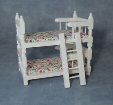 White Bunk Bed with Blue / White Pattern on the Mattress ,Miniature