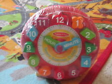 NIP Melissa & Doug Baby Toddler wooden block toy clock numbers color time shape