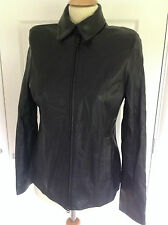 RACING GREEN gorgeous black butter soft fine genuine LEATHER jacket UK 10