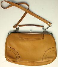 HANDTASCHE Vintage Henkeltasche LEDER Silber 70er Art Deco Gelbbraun Tasche