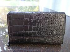 Mundi Big Fat Wallet Black Croco Faux Leather Clutch/Checkbook Cover/Organizer