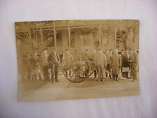 Vintage Antique Real Photo Postcard RPPC Fire Department & Firefigter Truck