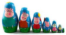 Peppa Pig Family Russian Matryoshka Handmade Wooden Nesting Stacking Dolls 7pc