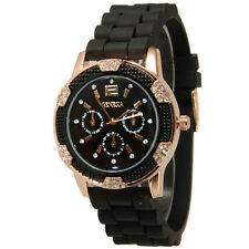 Women's Black Rose Gold Chronograph Silicone with Crystal Rhinestones 268shop