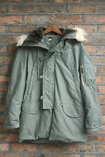 Vtg 70s usaf N-3B temps froid tuba parka veste manteau bordure en fourrure synthétique medium