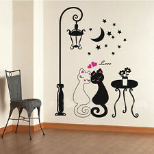 Couples Cats Moon Star Flower Wall Stickers Kids Children's Bed Room Decoration