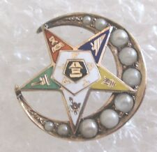 Antique 10K Gold/Pearls Order of the Eastern Star Ladies Pin-OES Masonic NICE!