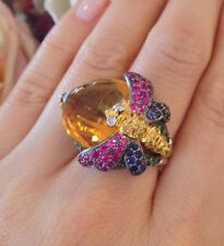 Dragonfly Ring with Citrine and Rubies & Sapphires 18.45 CTW in 18k WG - HM1400