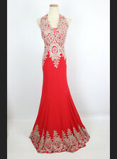 New Authentic Jovani JVN31492 Red Halter Formal Bridal Gown Evening Dress 10