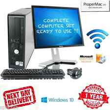 "Juego de PC de Dell Windows 10 Intel Quad Core CPU 250 GB HD 19"" in TFT 8GB DDR3 Wi-fi"