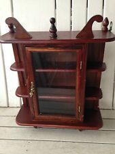 Vintage Wood Curio Cabinet Wall Hanging Display Shelf for Miniatures