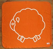 Giggle Baby Orange Lamb Sheep Receiving Blanket Gray White Stripe