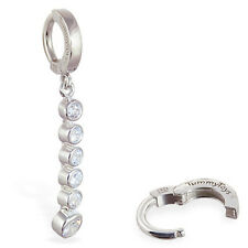 TummyToys Silver Long CZ Journey Charm Belly Button Ring Sexy snap on body jewel
