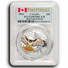 2016 Red Tailed Hawk PCGS PR70 First Strike Canada 1 oz Proof Silver Coin