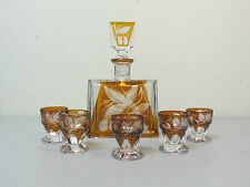 GORGEOUS MOSER BOHEMIAN ENGRAVED AMBER FLASHED GLASS DECANTER SET