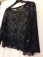 Black Lace Swing Top Ballroom Latin Dance Or Evening Wear H&M Uk 8 BNWOT