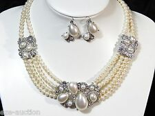 Of wight Pearl and Clear Crystal Classic Silver Necklace & Earring Set