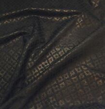 Lambskin Leather  Suede Emboss Digital Print Black with Gold Glittered 6680