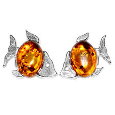 1.39g FIsh Authentic Baltic Amber 925 Sterling Silver Earrings Jewelry A8468