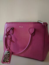 NWT Ralph Lauren Newbury Saffiano Double Zip Mini Satchel Crossbody Leather Bag