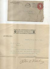 1912 Aetna Life Insurance Company Letterhead and Cover HARTFORD CT Connecticut